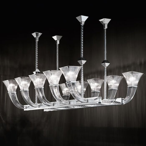 High-end modern dining room chandelier in Murano glass