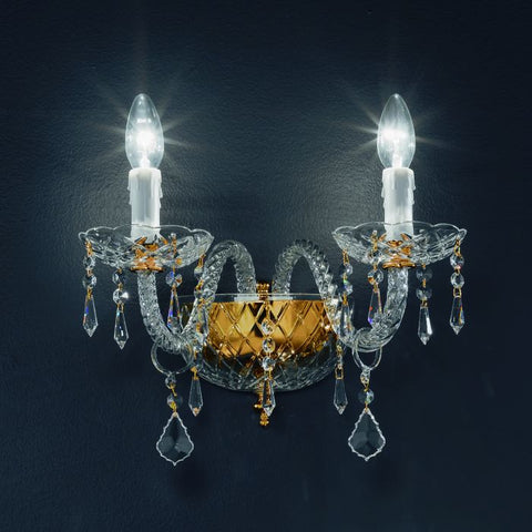 Crystal chandelier wall light with gold or nickel frame