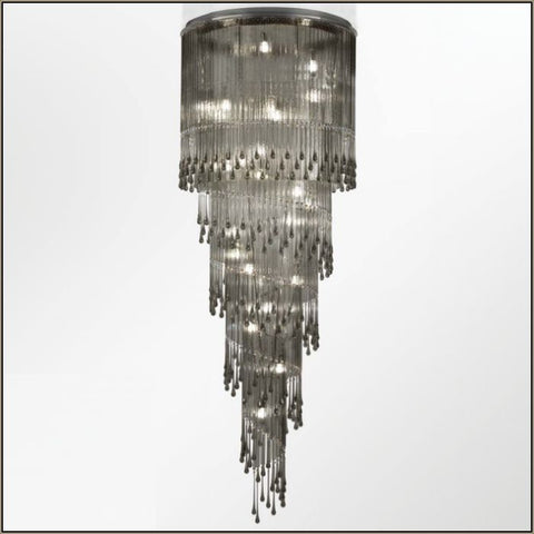 215 cm grey glass & Swarovski crystal stairwell chandelier