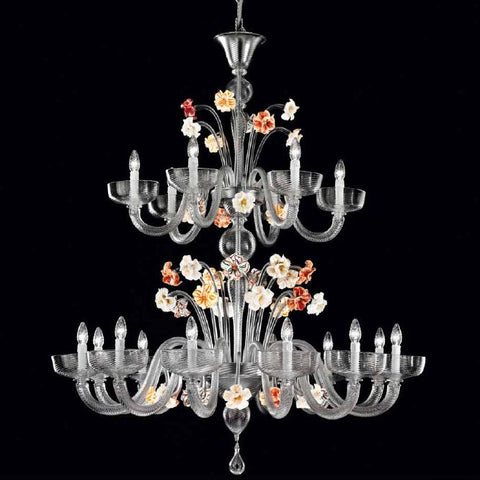 Grey Murano glass chandelier with colourful flowers