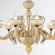 Champagne coloured 12 light Venetian glass chandelier