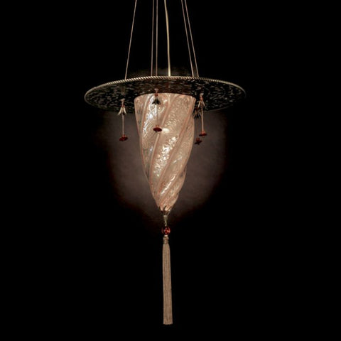 Fortuny-style Murano pendant light in 7 glass colours