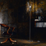 Minimal clear Murano glass and chrome floor lamp