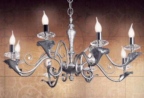 Contemporary Chandelier with Leaf Design Bobeches