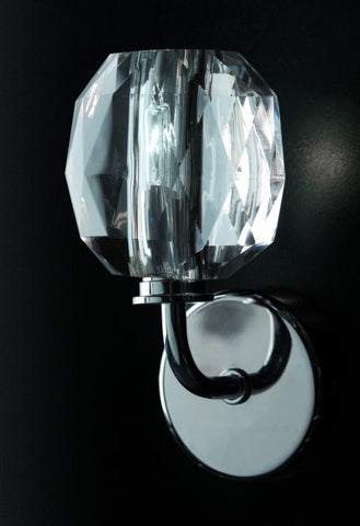 Urban-style optical crystal and chrome wall light from Italy