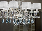 Italian crystal & chrome chandelier with 8 white lace shades