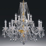 Traditional gold-plated lead crystal 12 light 2 tier chandelier