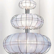 Modern 3 tiered fabric & chrome ceiling light - 5 colours