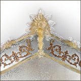 Engraved Venetian wall mirror with gold decoration