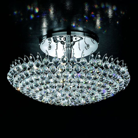 Elegant & contemporary Italian chrome and crystal pendant light
