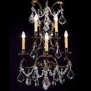 90 cm oxidized brass wall chandelier with crystals