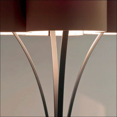 Modern Floor Light with Beige Satin Shade
