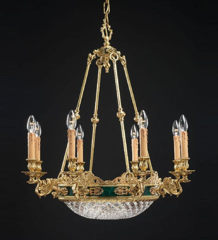 French gold and green malachite chandelier