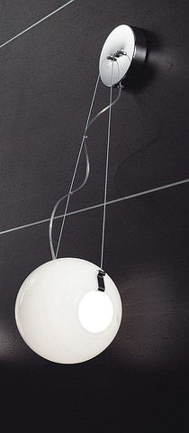 Modern spherical milk white glass wall lamp from Italy
