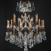 24 Light Brass Chandelier with Crystals