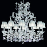 Chrome Plated Chandelier with White Organza Shades