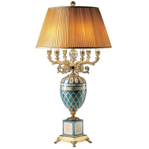 Large gold stone mosaic Italian table light with silk shade
