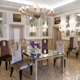 Luxury lilac velvet high-backed dining chair