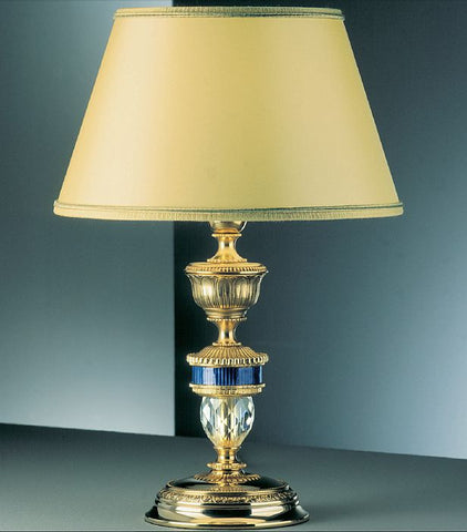 Classic gold-plated table lamp with blue enamelled detail