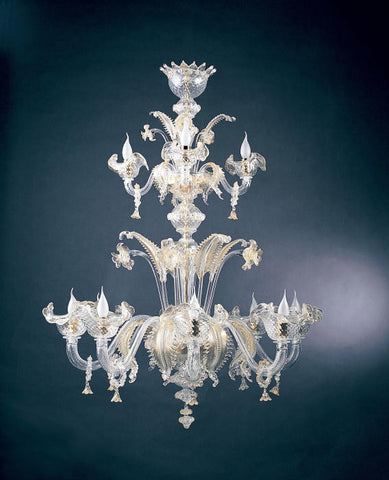 Venetian crystal 12 arm chandelier