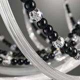 Metre-wide black glass chandelier with Swarovski Elements
