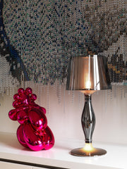 Liza irridescent or pewter-coloured table lamp with double light source from Slamp