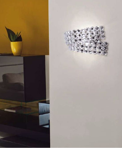 Diamante Swarovski crystal & nickel wall lamp by Marchetti