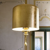 Gold leaf and wood pendant light with aluminium shade