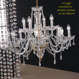Brass and 24% lead crystal chandelier with 6 lights