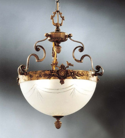 Small Italian brass chandelier with a cut glass bowl