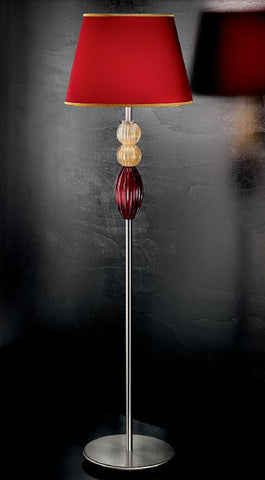 Red and amber Murano glass floor lamp