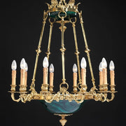 10 light French gold chandelier with malachite bowl