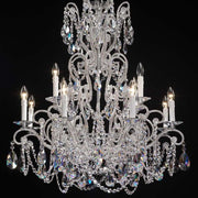 12 Light Silver Chandelier with Crystal Glass Pendants