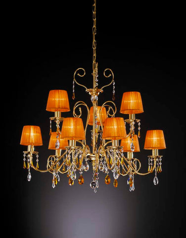 Gold and Topaz Swarovski Crystal Chandelier
