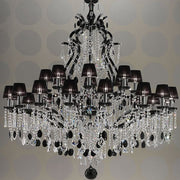 25 Light Crystal Glass Chandelier with Black Organza Shades
