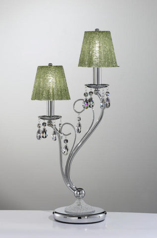 Swarovski table light with green glass shades