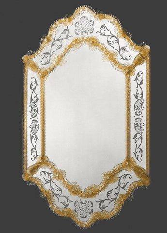 Elaborate Venetian Mirrorwith Intricate Gold Decoration