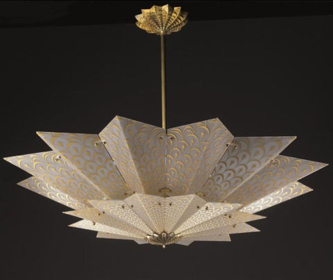 Fortuny style Murano glass ceiling light with gold design