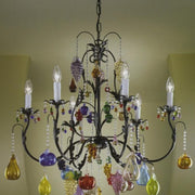 Multi-coloured 6 light Murano glass fruit chandelier