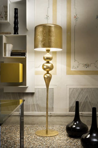 Coloured aluminium and wood floor light italy modern gold leaf modern wood and aluminium floor lamp in 6 colours aloadofball Gallery