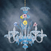 Murano Glass Chandelier with multicoloured flowers