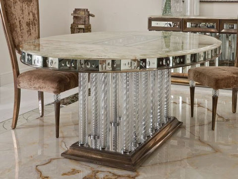 Oval foyer table with onyx top and mirrored details