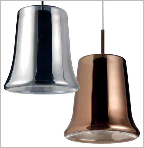 Cloche copper-metallic glass ceiling pendant from Leucos
