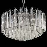 Custom drum chandelier with Murano glass prisms