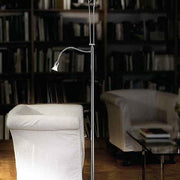 Polished or brushed metal directional floor reading lamp