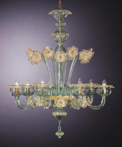 Handblown green and gold Murano glass chandelier with 8 lights
