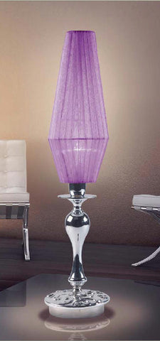 Elegant modern chrome table light with pale purple shade