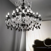 35 Light Glass and Acrylic Crystal Chandelier