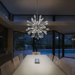 Mid-century satellite-style chandelier in clear Murano glass