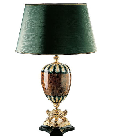 Gold mother of pearl, pen shell and jade mosaic table lamp